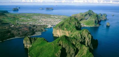 Aerial shot of Vestmannaeyjar Islands